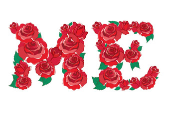 red rose in ME Alphabet vector