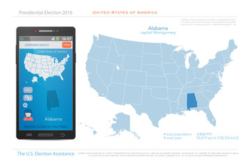 United States of America maps and Alabama state territory. vector USA political map. US election assistance app for smart phone