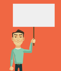 Man characters protest. Vector flat cartoon illustration