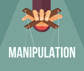 Fototapeta Manipulation hand. Vector flat cartoon illustration obraz