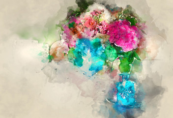 Colorful bouquet of flower. Digital watercolor painting