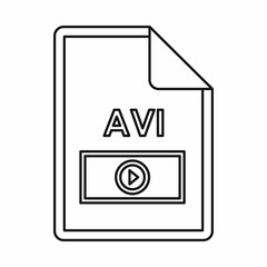 AVI video file extension icon in outline style isolated on white background