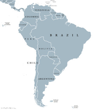 South America countries political map with national borders. Continent surrounded by Pacific and Atlantic Ocean. English labeling. Illustration.