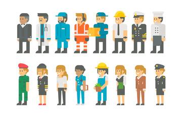 Flat design labor day people set