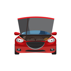 Red car with an open hood icon in cartoon style on a white background