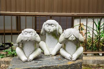 Three wise monkeys, Tokyo, Japan