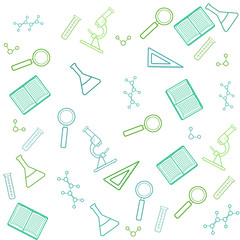 School chemistry seamless pattern. Laboratory objects background