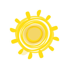 Hand drawn sun picture. Vector illustration isolated.