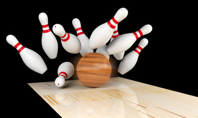 Bowling strike, scattered skittle and bowling ball on bowling lane with motion blur on bowling ball, 3D rendering
