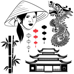 Set of Asian icons