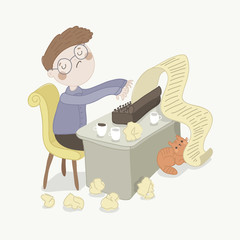 Writer is trying to write a text. Vector character. Blog and book