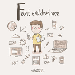 Cute vector alphabet Profession. Letter F - Front end developer