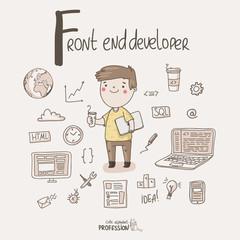 Cute vector alphabet Profession. Letter F - Front end developer