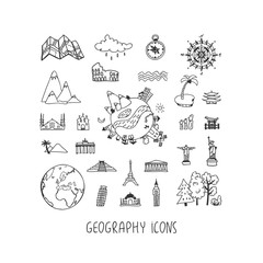 Geography hand drawn vector icons set