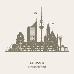 Leipzig Skyline Schattenriss Denkmäler Kultur Sehenwürdigkeiten blau Verlauf City-Hochaus Thomaskirche Friedenssäule Tierpark Rathaus Völkerschlachtdenkmal winterlich