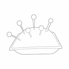 Cushion with pins icon in outline style isolated on white background. Sewing symbol