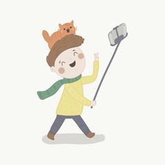 Boy taking selfie picture