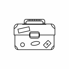Suitcase icon in outline style isolated on white background. Luggage symbol