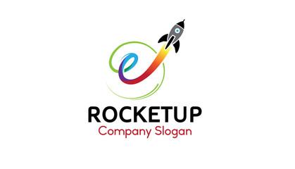 Rocket Up Logo Design Illustration