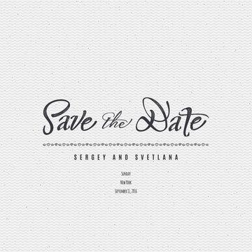 Save the date - calligraphic lettering badge label for design invitation