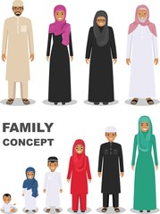 Family and social concept. Arab person generations at different ages. Muslim people father, mother, son, daughter, grandmother and grandfather standing together in traditional islamic clothes. Vector