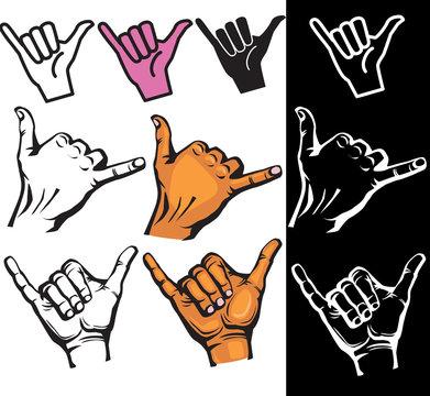 Set of Shaka hand sign