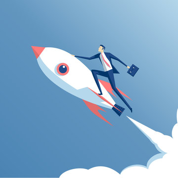 businessman flying on a rocket on blue sky background, business concept startup
