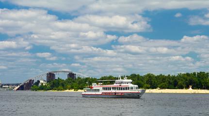 Ship on the Dnieper river. Kiev. Ukraine.