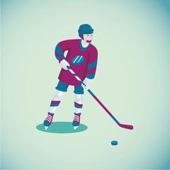 Hockey player. Isolated cartoon character. Flat style
