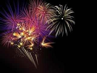 Colorful fireworks on black background, illustration