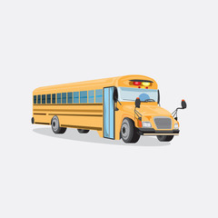 Vector yellow school bus isolated on a grey background