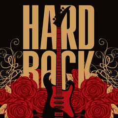 banner with an electric guitar among flowers roses and the words Hard Rock