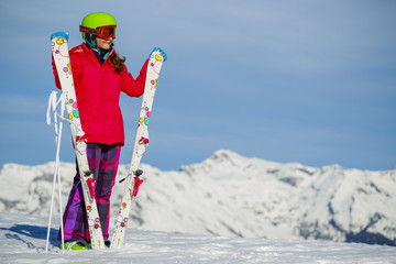 Ski,  young skier girl enjoying winter vacation