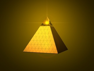 conceptual pyramid design with light beam eye on top.