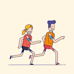 Trendy flat, thin line character design isolated on beige background. Man and woman listening to music on your phone or player while jogging, sports training. Vector cartoon illustration.