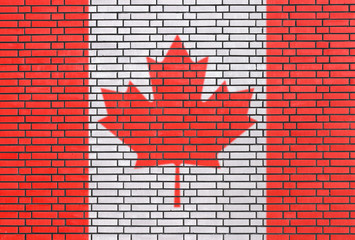 Canadian flag painted on brick wall