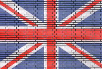 United Kingdom's fag painted on brick wall