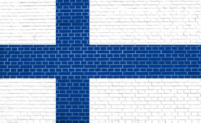 Flag of Finland on brick wall texture background