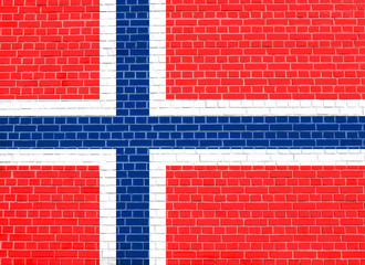 Flag of Norway on brick wall texture background