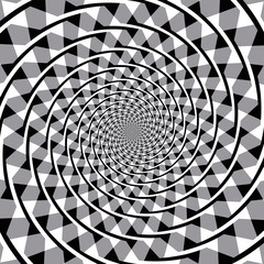 Fraser spiral optical illusion. Also known as the false spiral or the twisted cord illusion. The overlapping arc segments appear to form a spiral, but the arcs are a series of concentric circles.