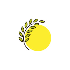 Isolated round shape abstract agricultural vector logo. Wheat ear with sun silhouette logotype. Farm icon. Harvesting illustration. Bakery emblem.