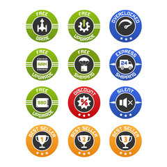 Vector set of flat icons or badges for computers online selling. Free upgrade, game, ram ssd, shipping, discount and best seller.