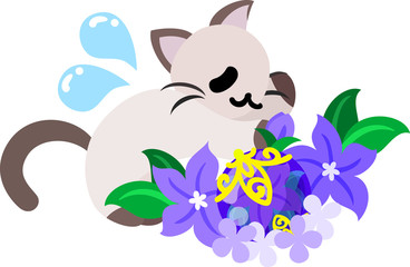 The pretty little cat and a purple flower object
