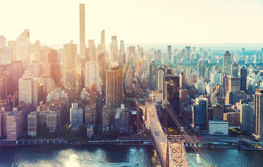 Spoed Fotobehang Luchtfoto Aerial view of the New York City skyline