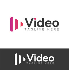 Video media channel player logo design vector