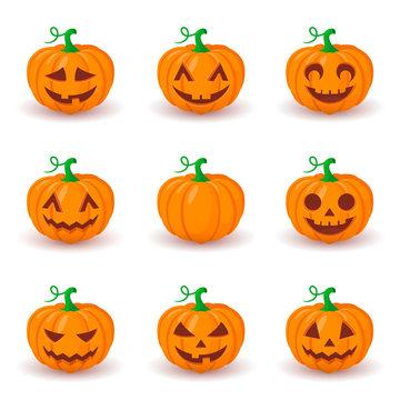 Cute pumpkin faces set.