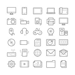 Set of 30 vector outline computer icons