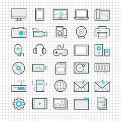 Set of 30 vector linear icons on a checkered background