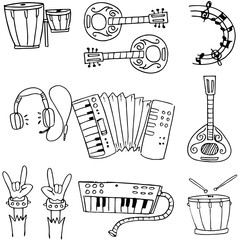 Music object doodles stock collection