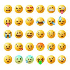 Set of emoticons, emoji isolated on white background